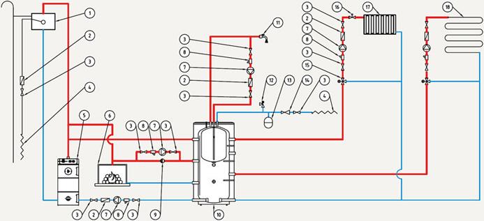 Типовая схема подключения буферного накопителя NIBE BUZ-750.90 R