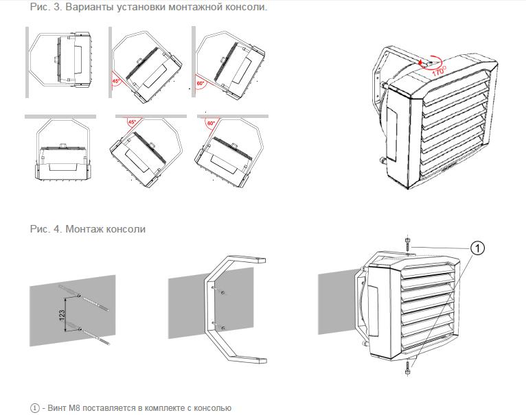 Крепление монтажной консоли тепловентилятора ГРЕЕРС ВС-1110