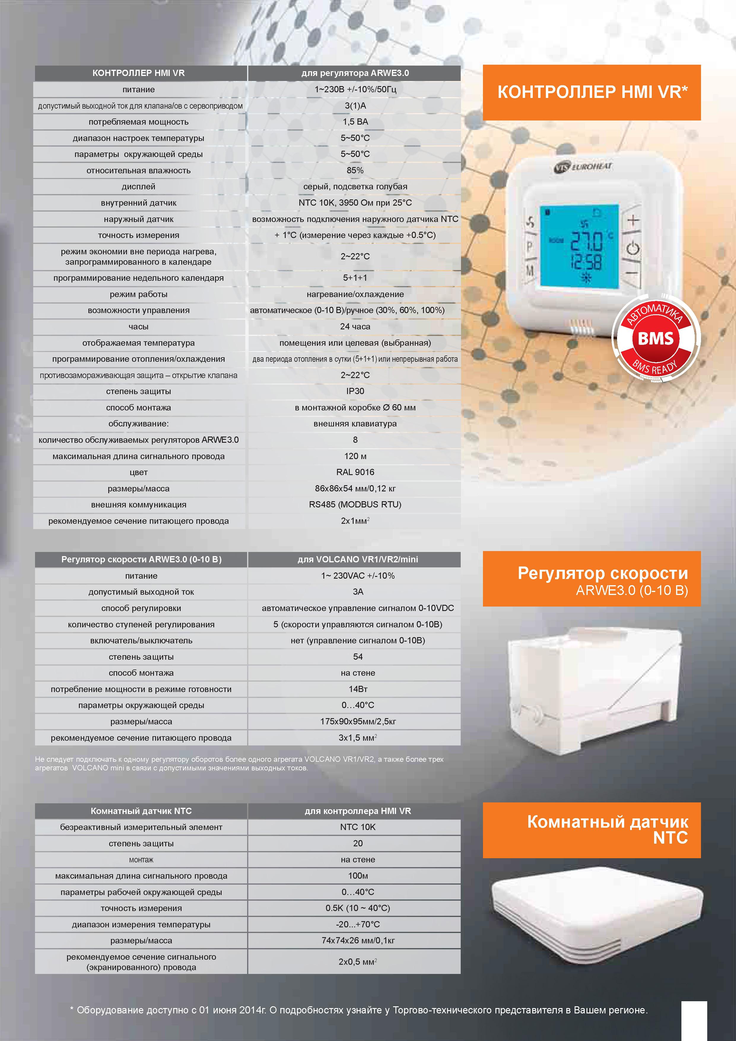 Контроллер HMI VR 0-10V характеристики